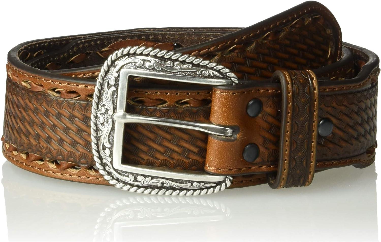 ARIAT Mens Tonal Buck Stitch Basket Stamp Taper Belt