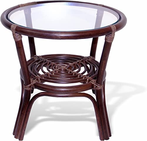 Round Coffee Table w Glass Top Natural Rattan Wicker ECO Handmade, Dark Brown
