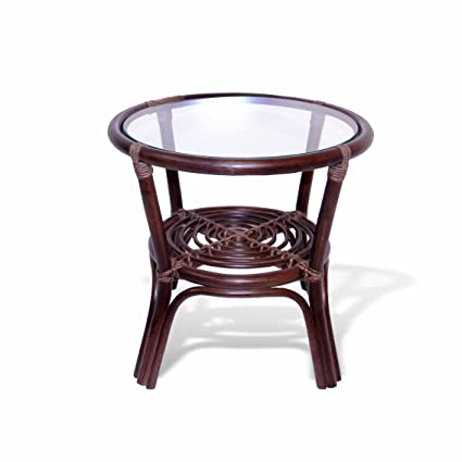 Round Coffee Table W/ Glass Top Natural Rattan Wicker ECO Handmade, Dark  Brown