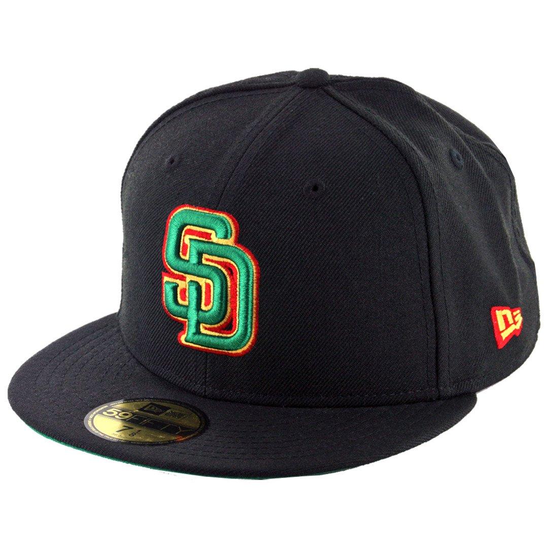 Amazon.com   New Era 59Fifty San Diego Padres Fitted Hat (Black Rasta)  Men s Custom MLB Cap   Sports   Outdoors 588fa85fa8b0
