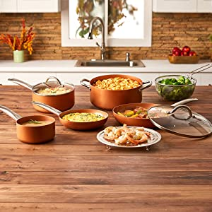 Copper-Chef-Cookware-9-Pc.-Round-Pan-Set