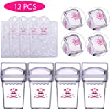 Makartt 4pcs Clear Nail Stampers 4pcs Nail Scrapers 4pcs Silicone Nail Art Stamper Heads, S-02