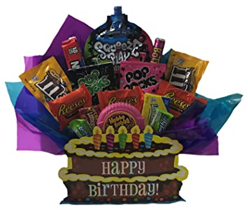 Happy Birthday Chocolate And Candy Edible Arrangement In Decorative Gift Box Full Of Brand Name