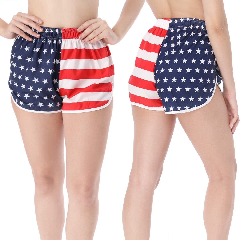 Pantalones Cortos con Bandera de los EE. UU. De 2 Piezas de EE. UU. Pantalones Cortos de Split Traje de baño Pantalones Cortos para Correr Pantalones Cortos de Playa para Mujeres (S):
