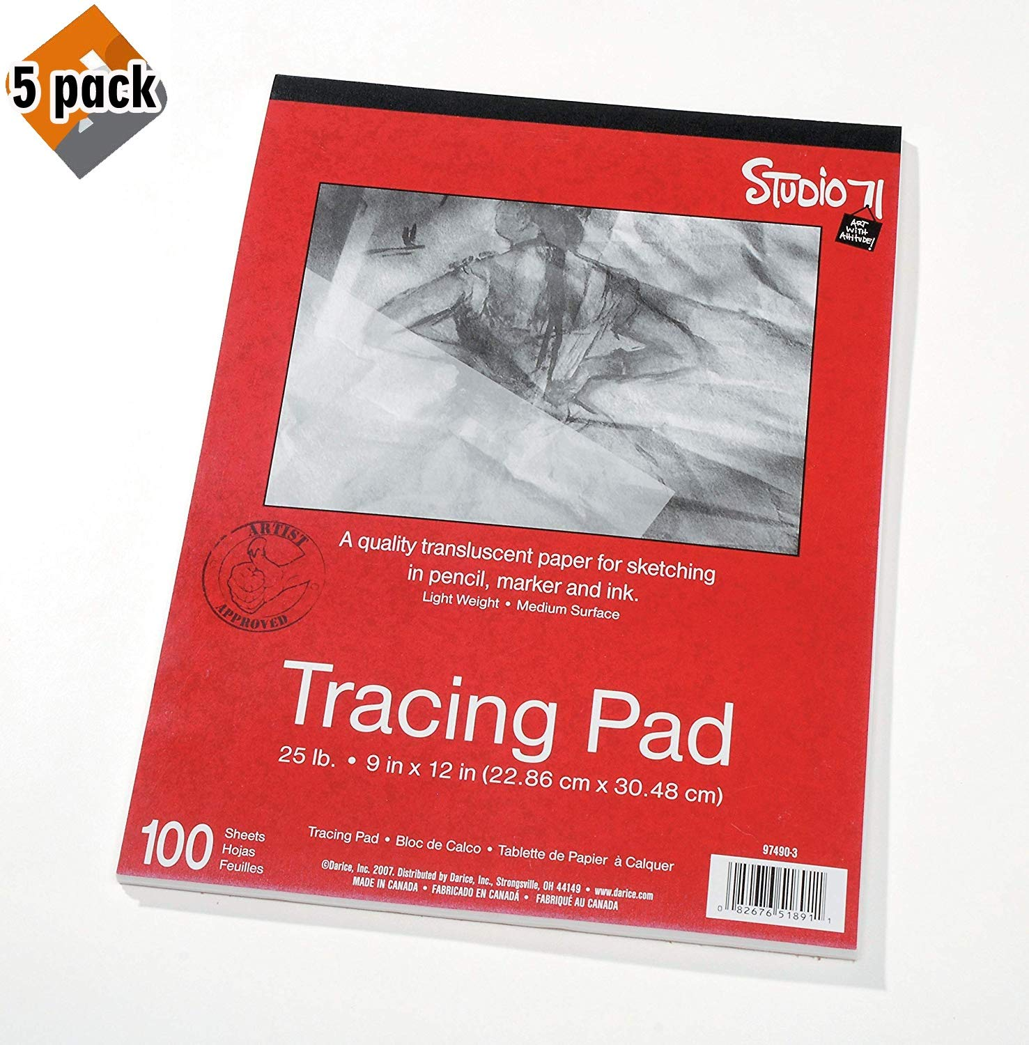 """Darice 9""""x12"""" Artist's Tracing Paper, 100 Sheets – Translucent Tracing Paper for Pencil, Marker and Ink, Lightweight, Medium Surface (97490-3) - 5-Pack"""