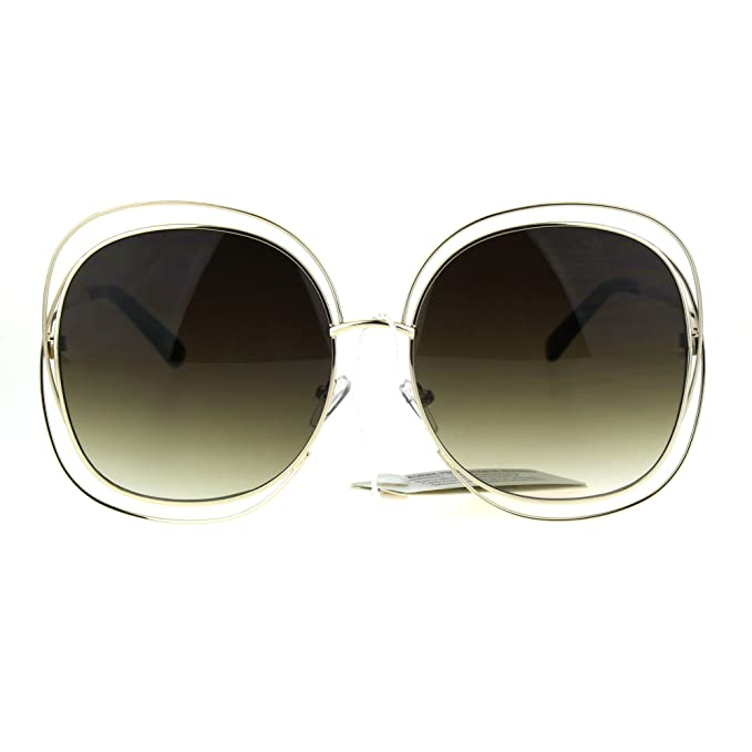 f51a8f4f25a Womens Scribble Multi Wire Rim Oversize Gradient Butterfly Diva Sunglasses  Gold Brown