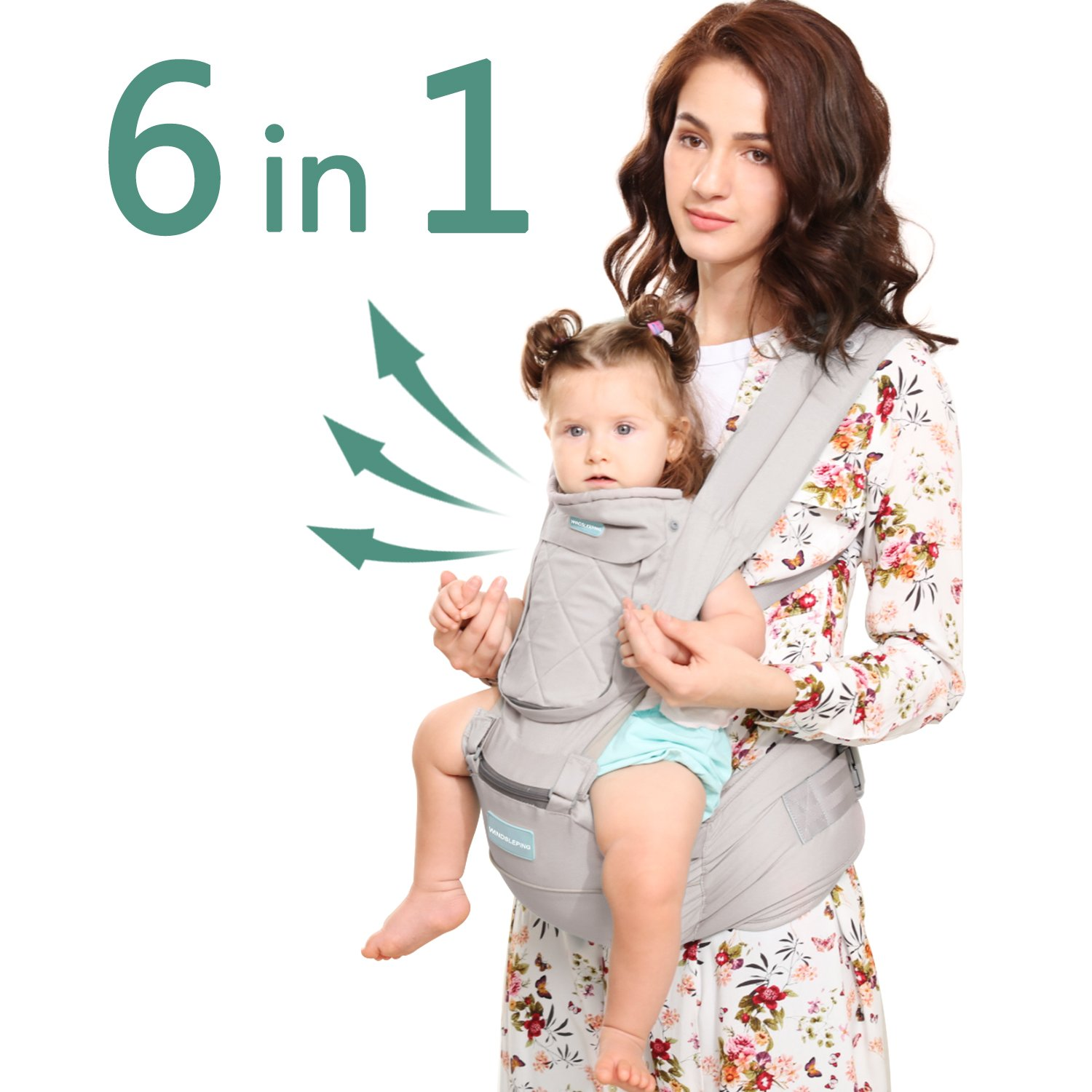 Windsleeping Baby and Child Carrier Backpack 6-in-1 Detachable Natural Latex Carrier Sling with Hip Seat, Suit for Newborn, Infant,Toddler,Kids - Grey