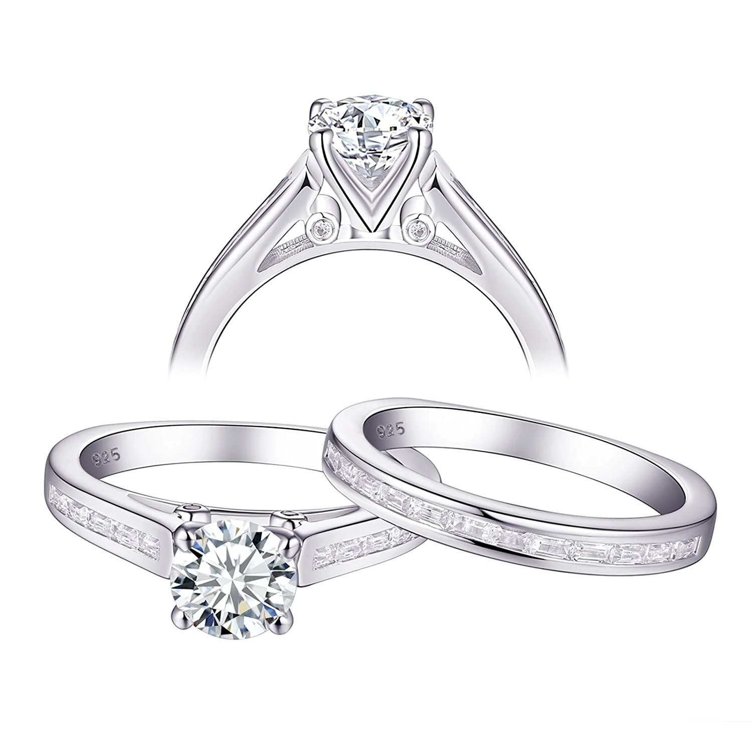 a5038e81e5 Amazon.com: Newshe Jewellery Engagement Wedding Ring Set for Women 925  Sterling Silver White AAA Cz 1.3ct Size 5-10: Jewelry