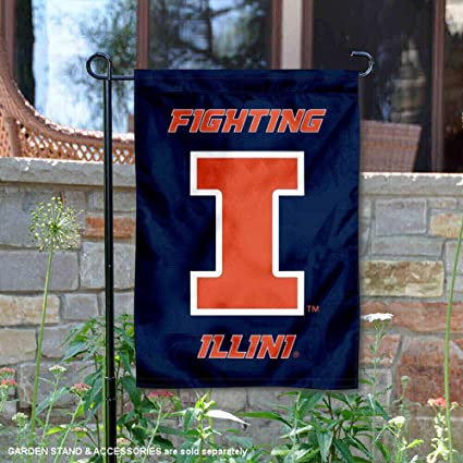 College Flags and Banners Co  Illinois Fighting Illini New Logo Garden Flag
