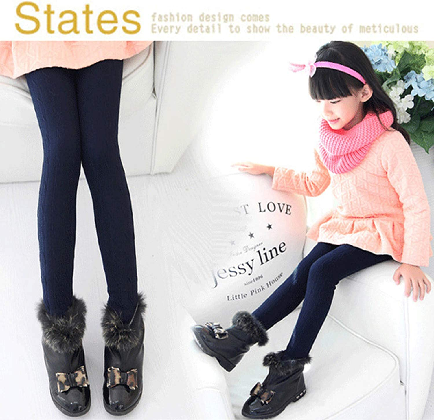 Blue and Black Girls Velvet/Leggings Tights Warm Thick Lined Stretch Cotton/Fleece Knitted Pants Trousers