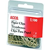 ACCO Smooth Gold Tone #2 Size Paper Clips, 100 Clips / Box (A7072533)