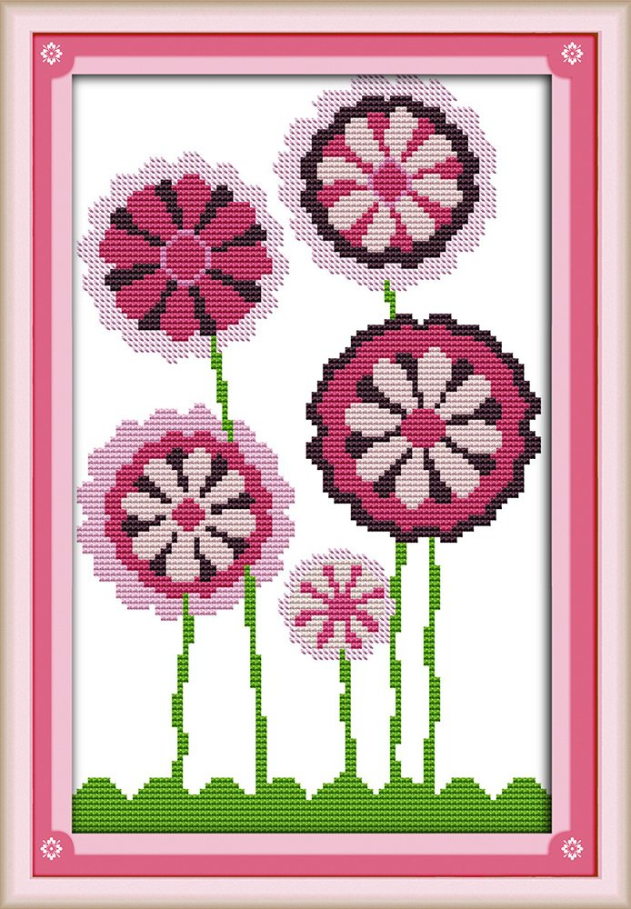 Cross Stitch Embroidery Starter Kit Including 11ct Stamped Aida Pre-Sorted Colored Threads And Tools Cotton Fabric Patterned with Design of Purple Flowers (14CT-Stamped) Ormosia