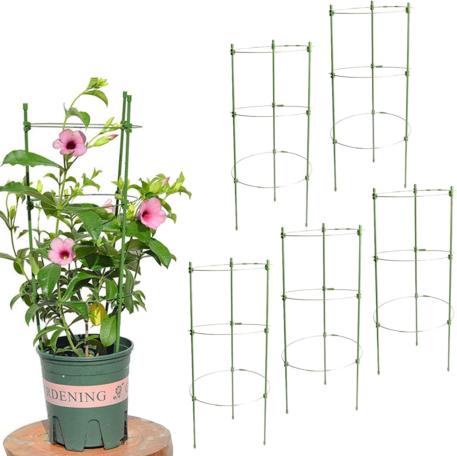 WOCHOLL Tomato Cages for Garden 5 Pack 18Inches Garden Stakes for Plants with 3 Adjustable Support Rings, Plant Stake for Supporter Climbing Plants, Slip and Shock Resistant