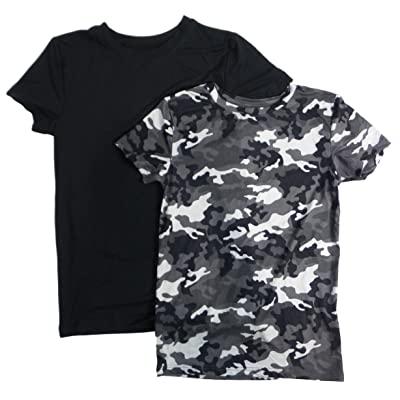 32 Degrees Weatherproof Short Sleeve Crew Neck Cool Tees for Kids - 2 Pack (M, Grey Camo/Black)
