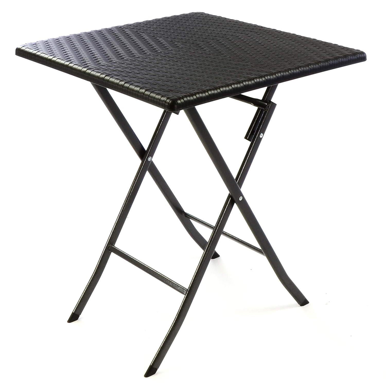 SONLEX Balkontisch Rattan-Optik schwarz Gartentisch Klapptisch 61 x 61 x 75 cm eckig Campingtisch Kunststoff robust stabil wetterfest pflegeleicht klappbar