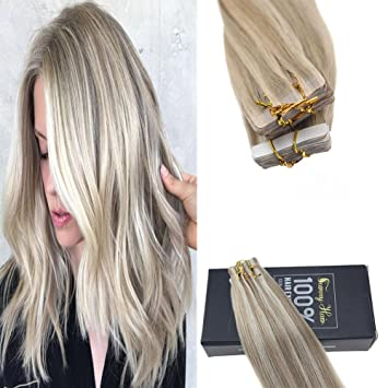 Amazon Com Sunny 24inch Blonde Highlight Hair Extensions Tape In