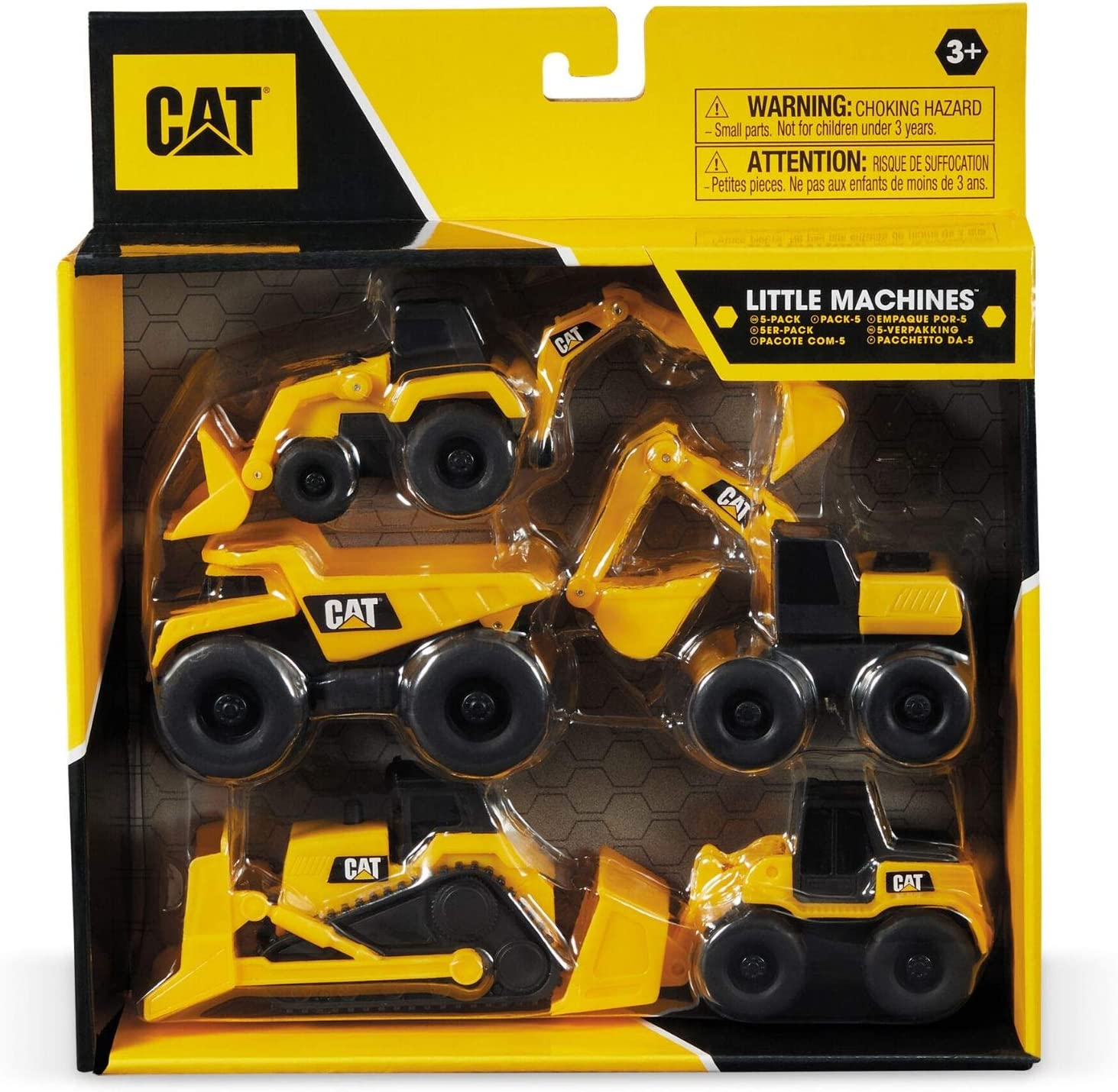 Mondo Motors-Caterpillar CAT Little Machines - Lote de 5 vehículos de construcción, color amarillo/negro, 25511, varios , color/modelo surtido