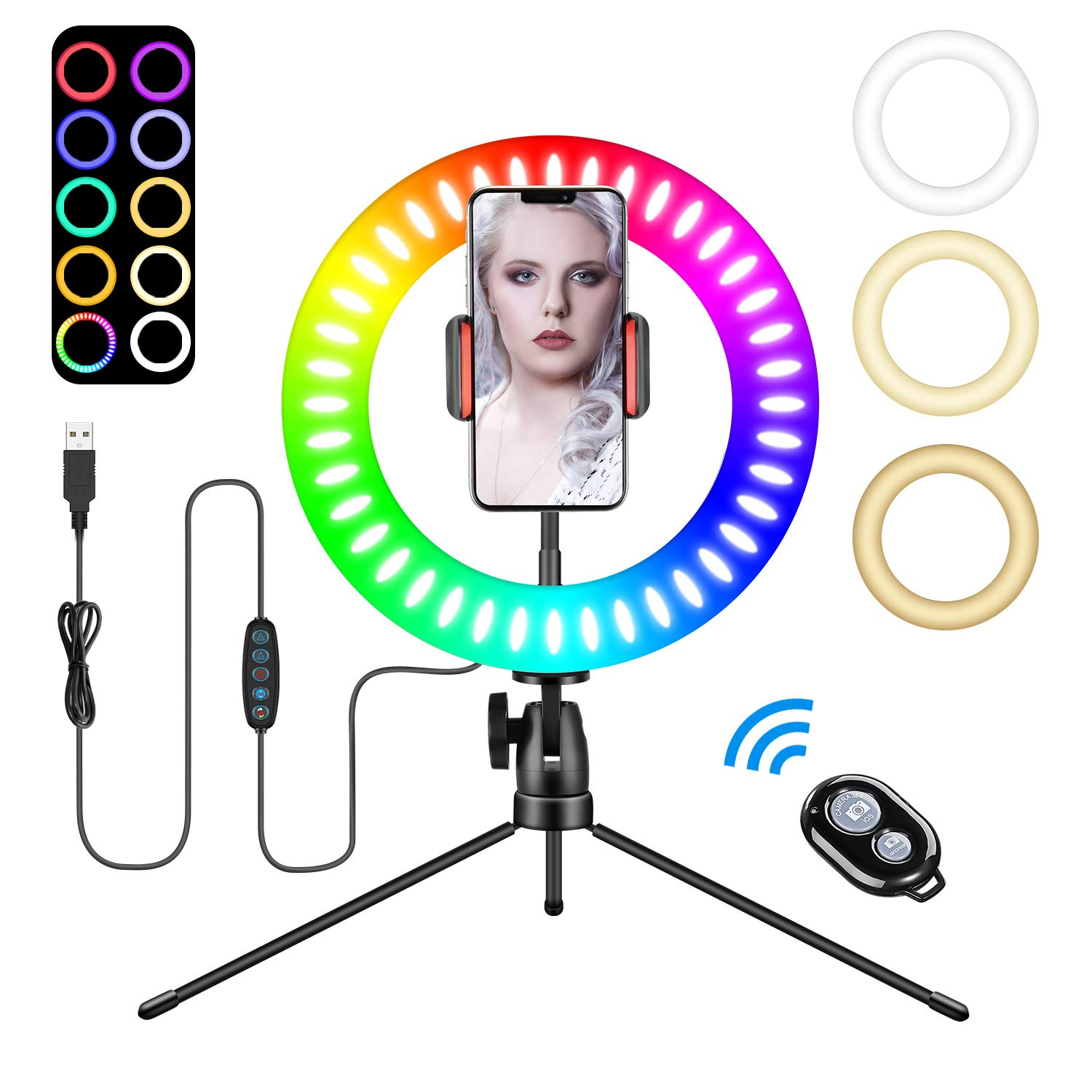 "Tenswall 6"" LED Ring Light with Tripod Stand for Live Stream,YouTube Video & Makeup Selfie, Mini Desktop LED Camera Light with Phone Holder Selfie Ring Light with 3 Light Modes & 11 Brightness Levels"