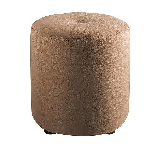 Kings Brand Furniture Josue Round Ottoman Stool, Brown Microfiber