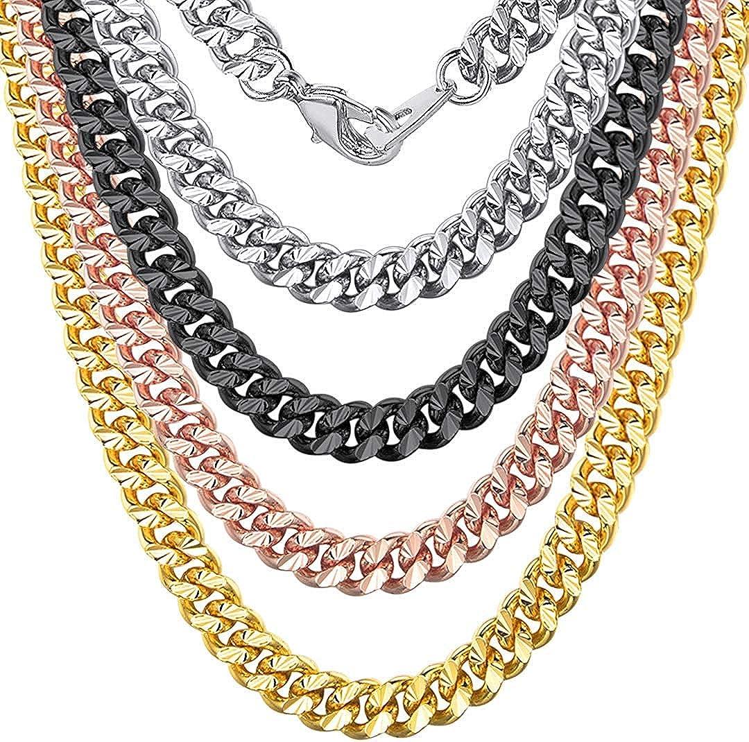 ChainsHouse Collar de Cadena Oro Negro Rosado Acero Inoxidable Mujeres Hombres Collares 4mm / 7mm Ancho, 46cm - 81cm Largo Fashion Jewelry for Men Women