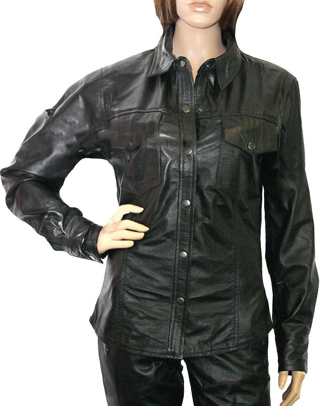 Camisa de piel napa motocicleta Camisa Chopper Echtleder Camisa (piel de napa Negro negro M: Amazon.es: Ropa y accesorios
