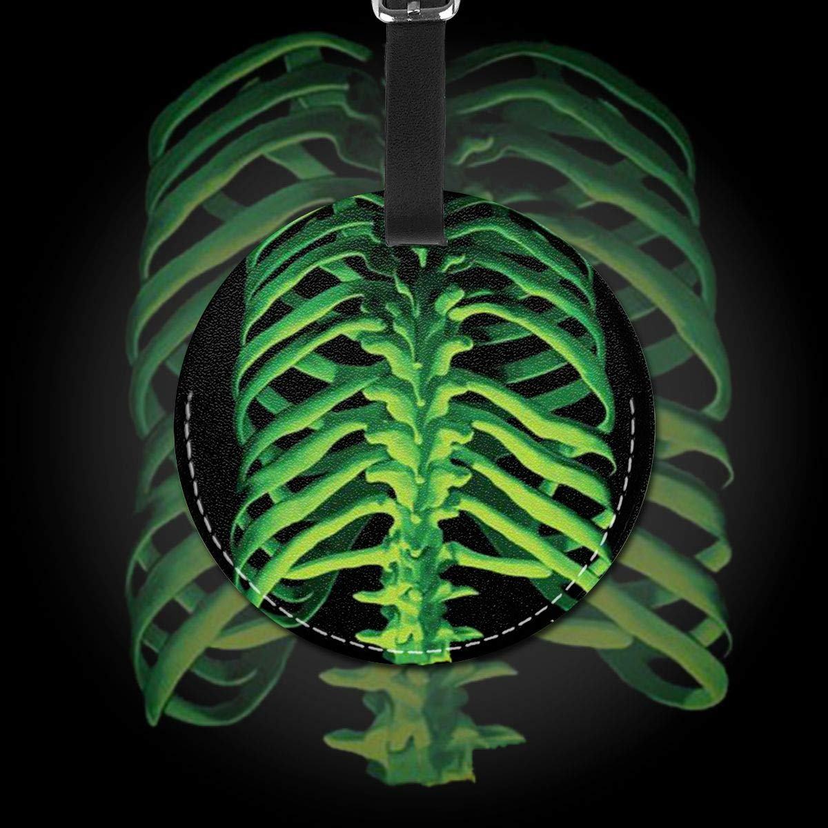 Free-2 Skeleton Rib Cage Halloween Luggage Tag 3D Print Leather Travel Bag ID Card