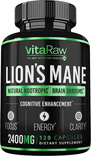 Organic Lions Mane Mushroom Capsules 2400mg Powerful Nootropic Brain Mushroom Supplement