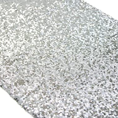 TRLYC Christmas Sequin Table Runner, 12 by 60-Inch Sequin Tablerunner, Silver