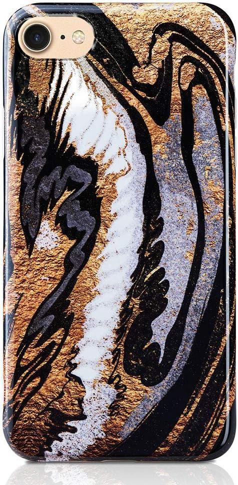KEEPXYZ Handyh ü lle Compatible with iPhone SE 2020 7/8 H ü lle Marble Gold Glitter Black d u nn Silicone Schutzh ü lle Bumper Case Black Marble