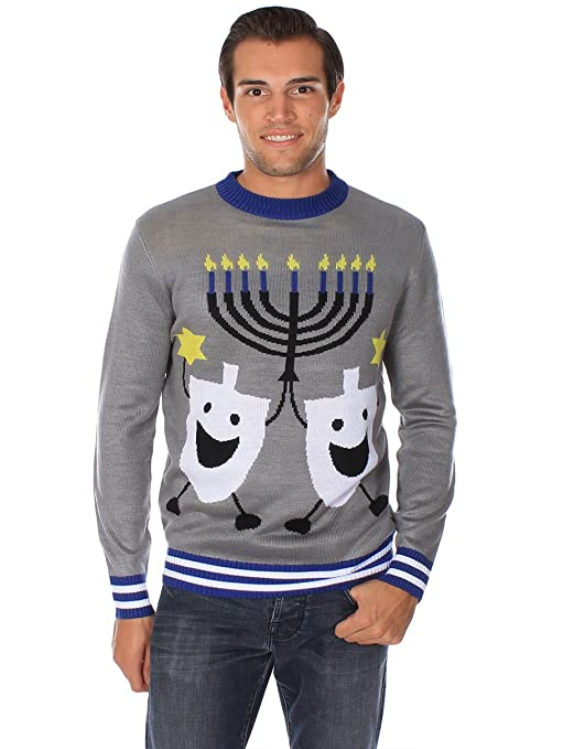 Ugly Christmas Sweater - Ugly Hanukkah Sweater by Tipsy Elves at Amazon Mens Clothing store: Pullover Sweaters