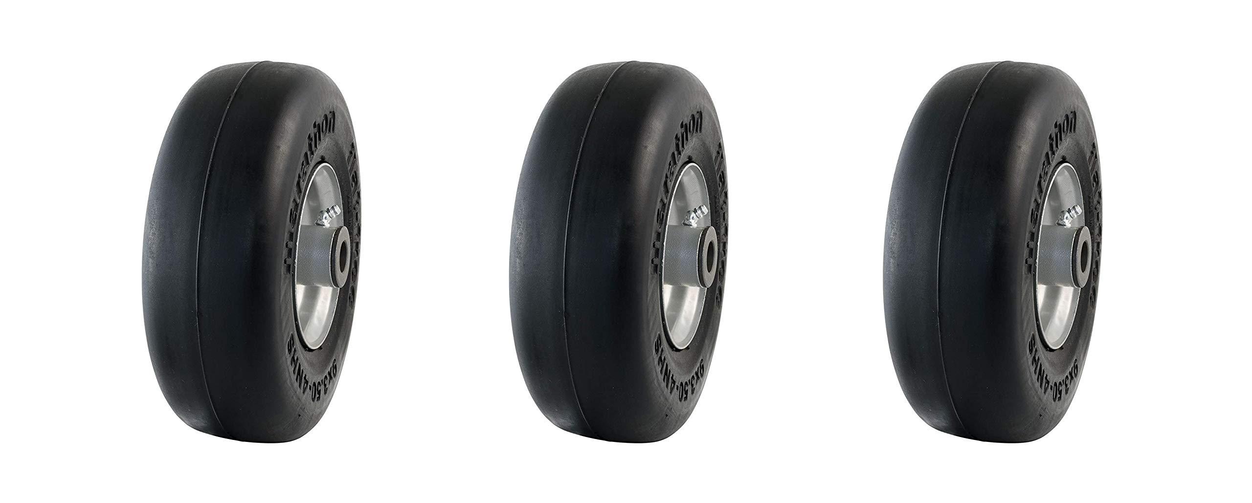 Marathon 9x3.50-4'' Flat Free Tire on Wheel, 4'' Centered Hub, 3/4'' Bushings (Pack of 3) by Marathon Industries