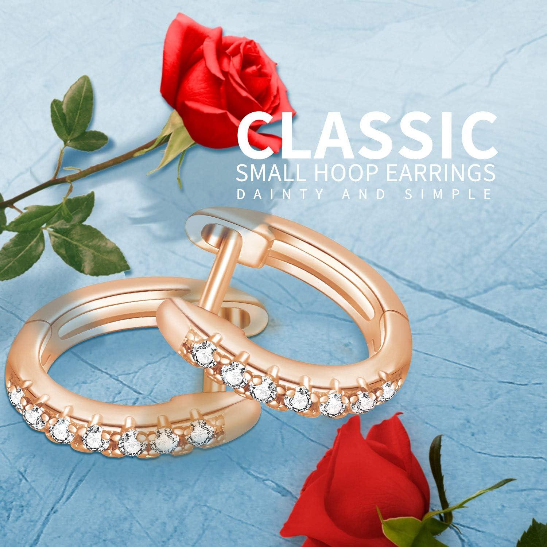 JSJOY Small 14k Gold Hoop Earrings for Women,Cubic Zirconia Gold Hoop Earrings,Huggie Hoop Earrings Hypoallergenic/…