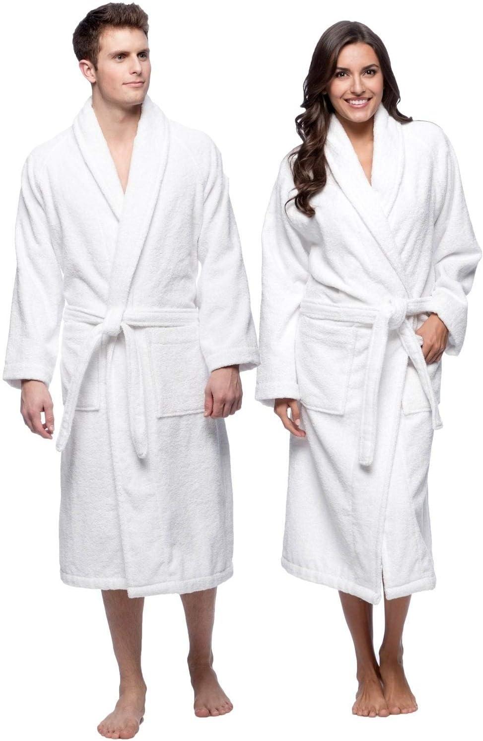 Terry Bathrobes Towel Unisex-Bathrobes for Men-Bathrobes for Women-Lightweight Bathrobe Side Pockets-White Bathrobes Unisex Hotel Quality-Luxury Bathrobe -Absorbent Soft Combed Cotton Plush Bathrobe: Home & Kitchen