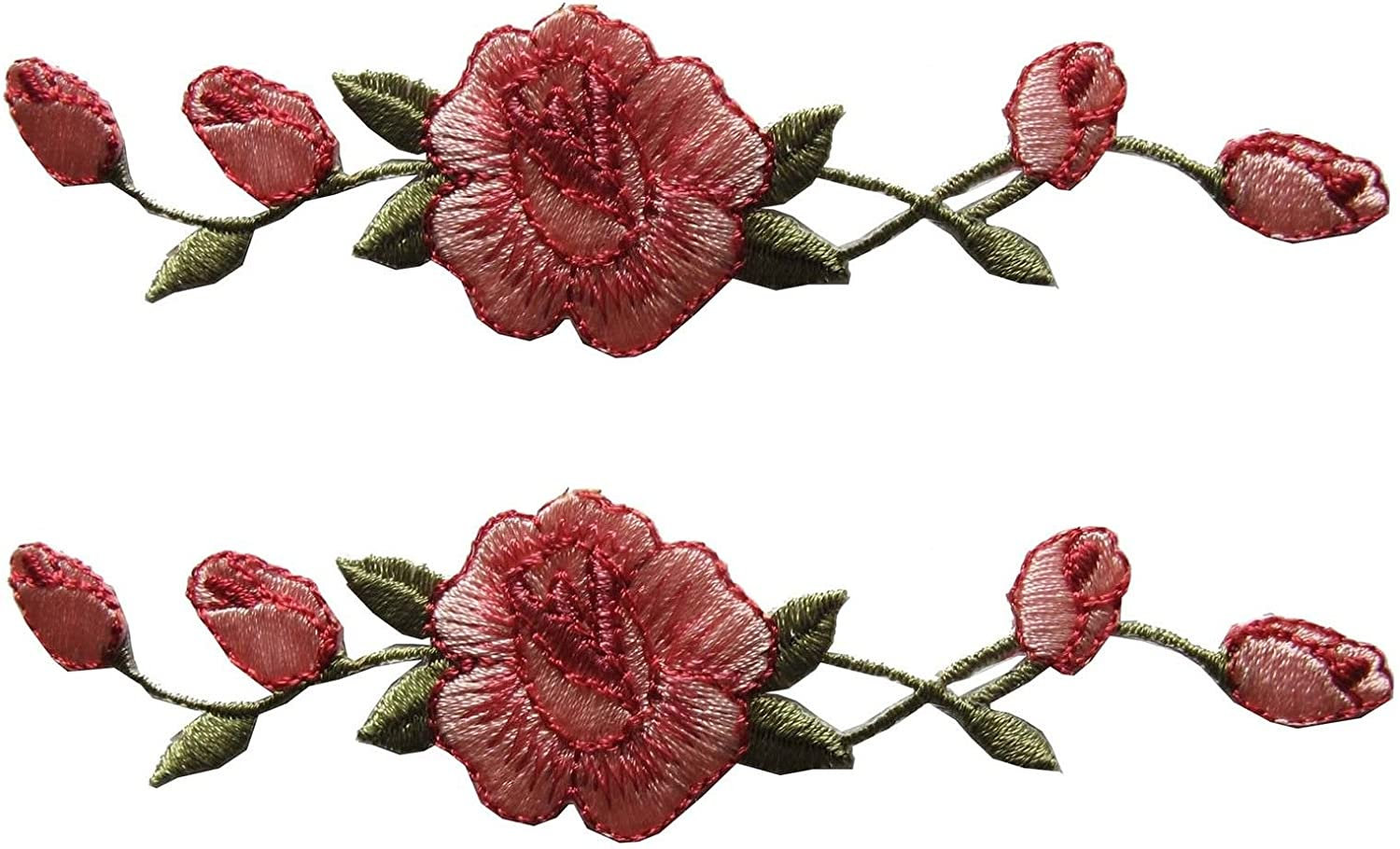 Extra Large Red Floral  Patch Iron On.Heat Transfer Embroidery Applique for DIY