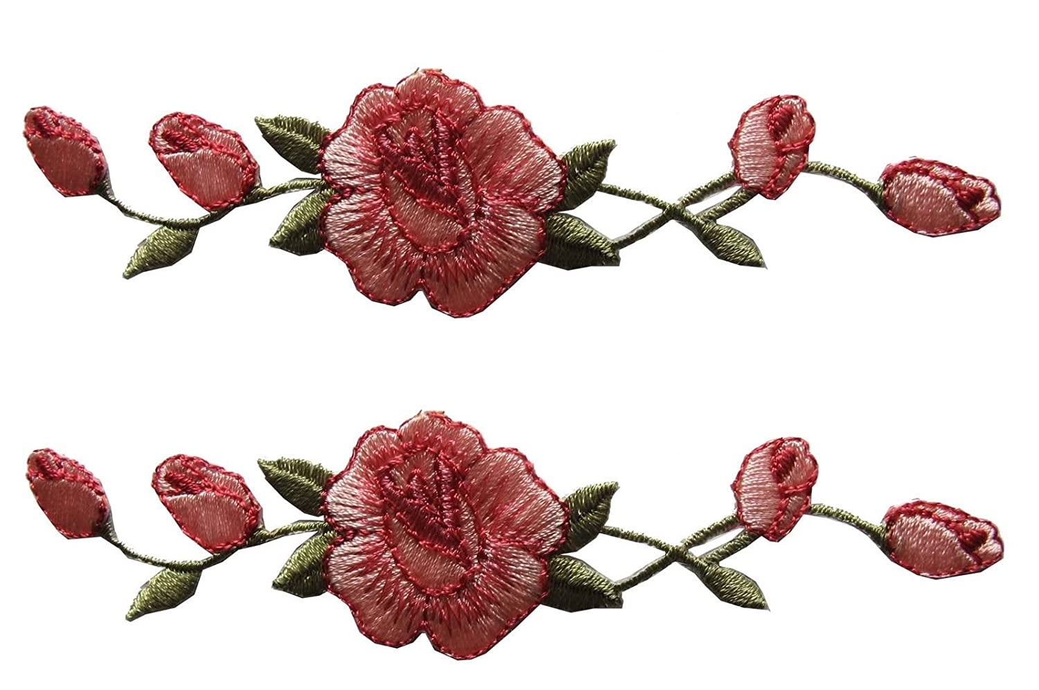 Sewing ETDesign 2 Pcs Applique Patch Rose Flower Embroidery Iron On Flower Appliques For Craft Scrapbooking Decorative 1 1//8x4 3//4 inch Clothing Pink