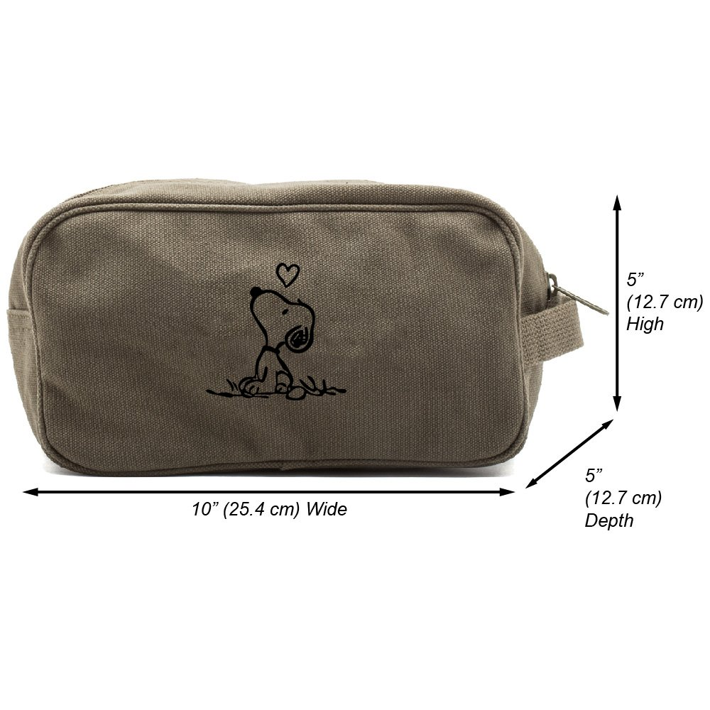 Snoopy in Love Canvas Shower Kit Travel Toiletry Bag Case, Olive & Black