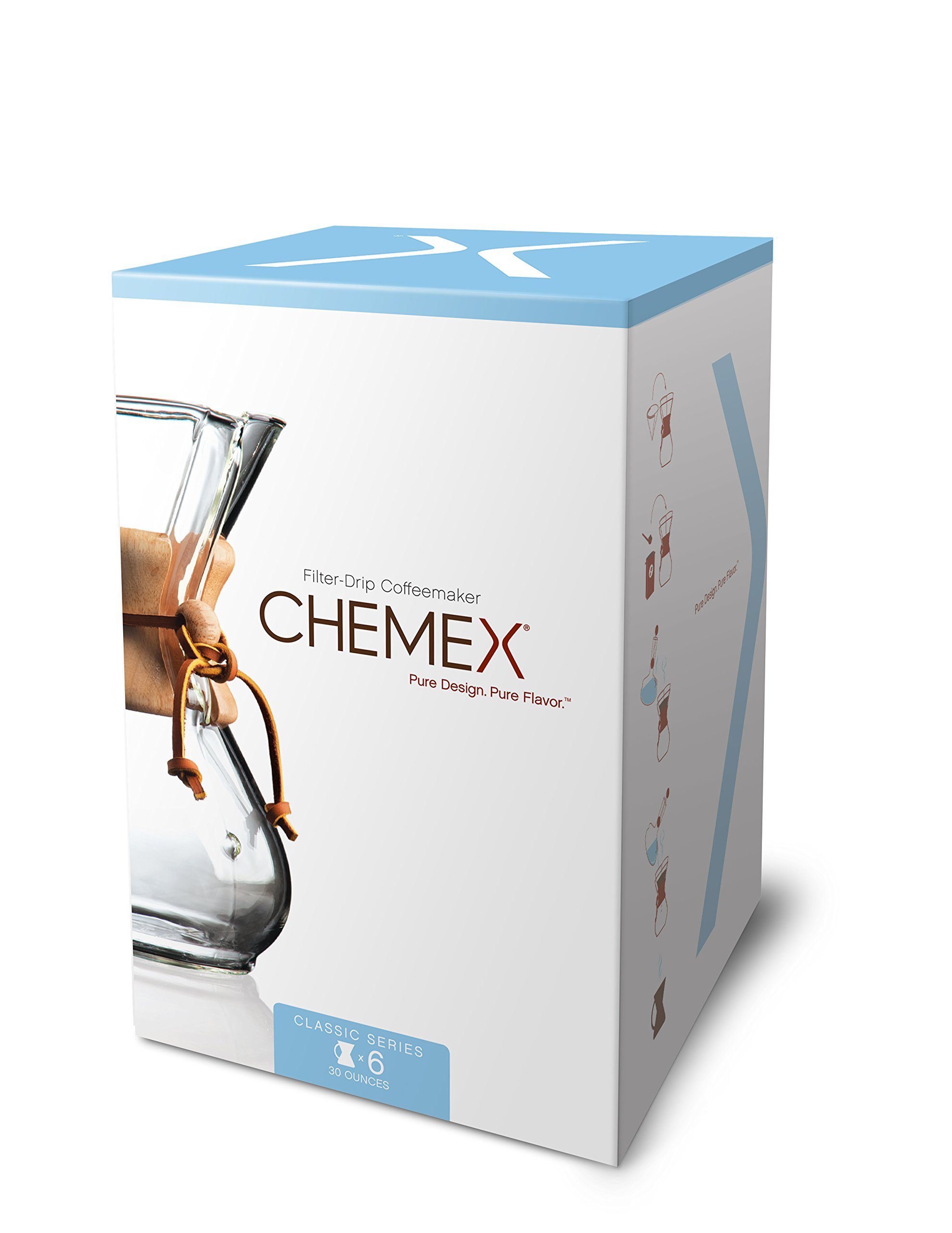 Chemex Classic Series, Pour-over Glass Coffeemaker, 6-Cup - Exclusive Packaging by Chemex