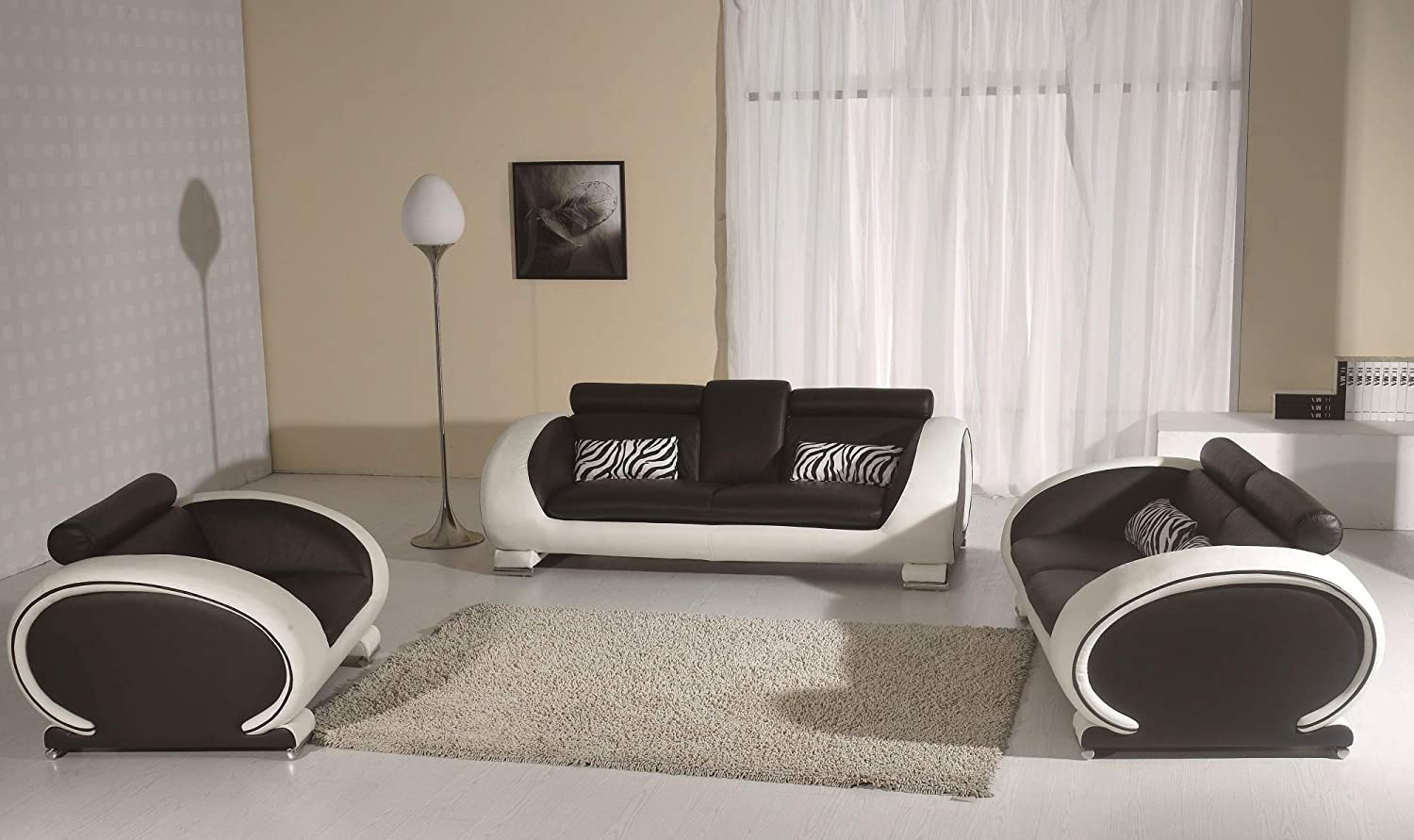 Amazon com oakland living 816 sf ls ch wt white black contemporary real leather configurable furniture sofa loveseat chair modern modular living room set