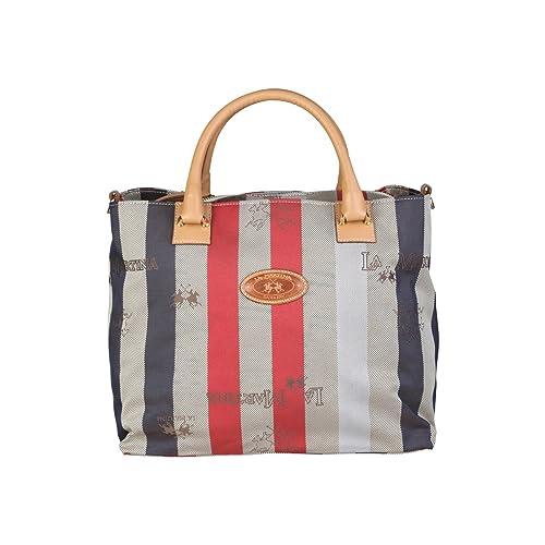 Shopping due manici a mano e tracolla La Martina tessuto e pelle rosso   Amazon.it  Scarpe e borse 102d6963929