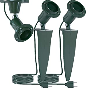 Home Intuition Outdoor Flood Light Fixture with Stake (6-Feet Cord, 18/2-Gauge), 2-Pack