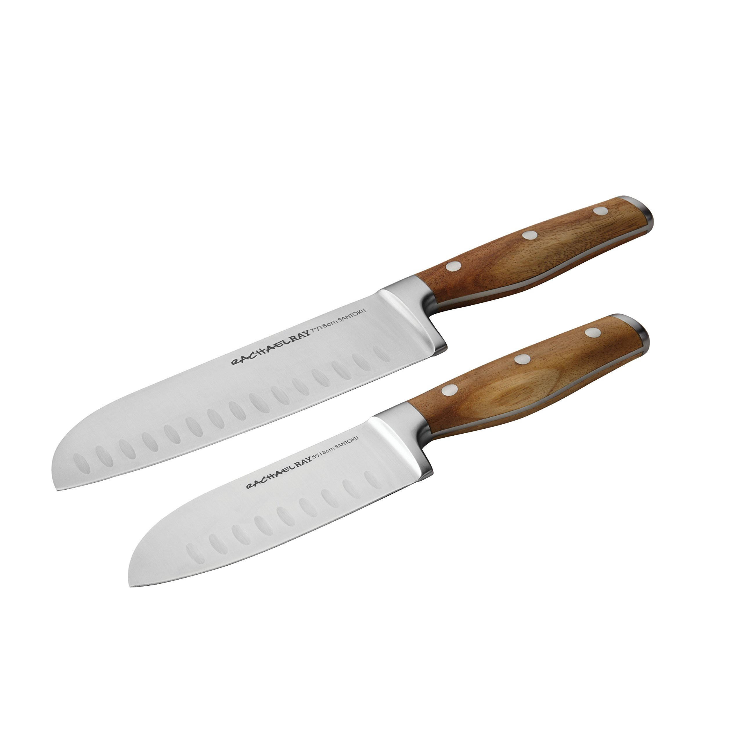 Rachael Ray Cucina Cutlery 2-Piece Japanese Stainless Steel Santoku Knife Set with Acacia Handles by Rachael Ray
