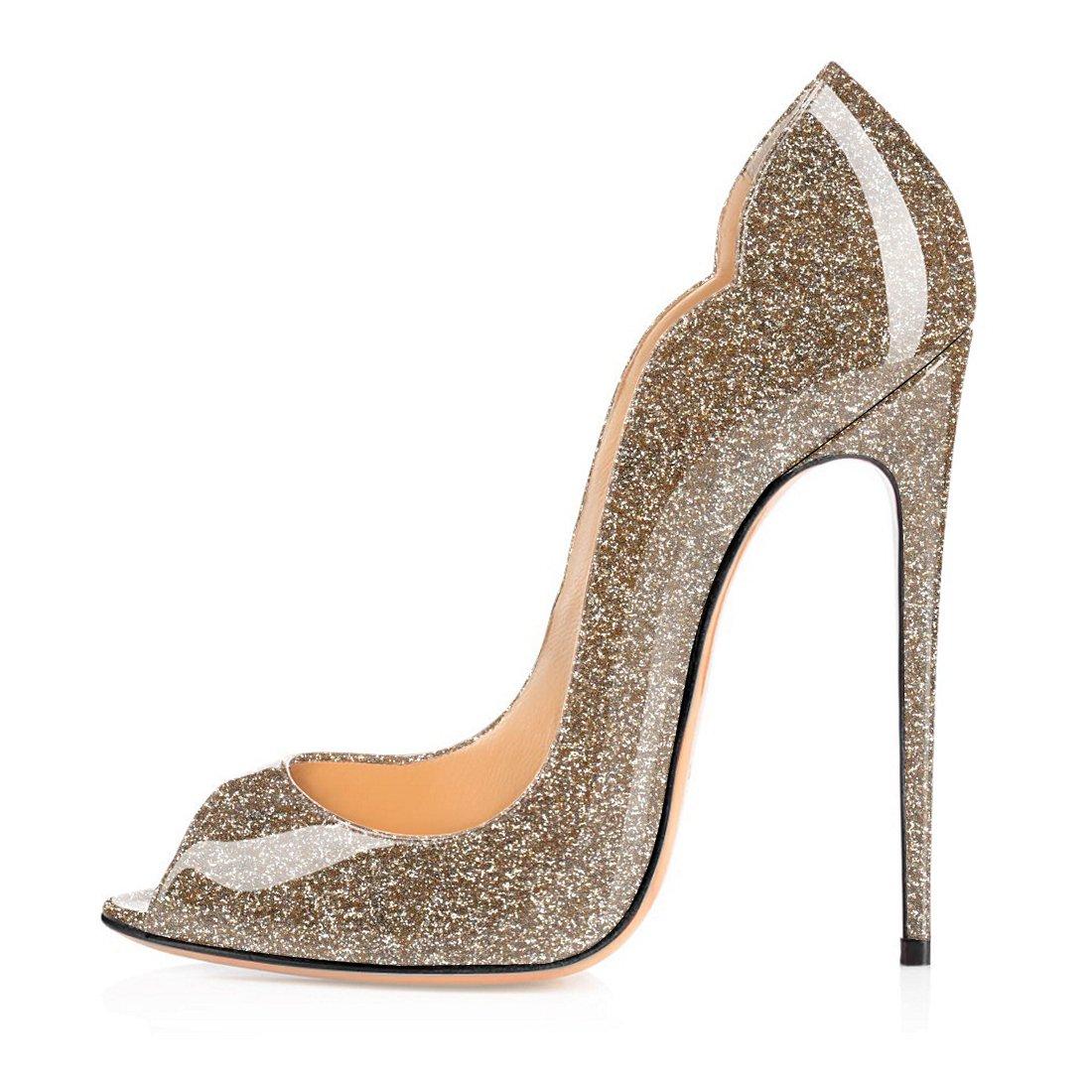 Soireelady - Zapatos con tacón Mujer 38 EU|Glitter-gold