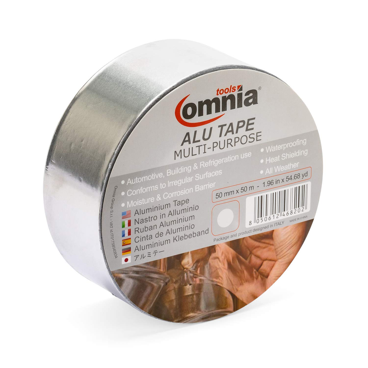 OMNIA TOOLS ALU Multipurpose Tape | Aluminium Foil Self Adhesive Tape | Conductive Heat Proof Vapour Barrier | Silver 1.6 mil 1.96 in x 54 Yd T666801011