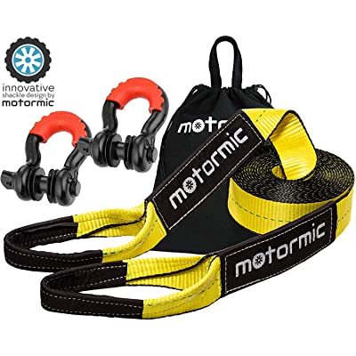 "motormic Tow Strap Recovery Kit - 3"" x 30ft (30,000 lbs.) Rope + 3/4"" D Ring Shackles (2pcs.) + Storage Bag - Heavy Duty Straps for Winch - Truck, Car, ATV, Off Road Vehicle Towing: Automotive"