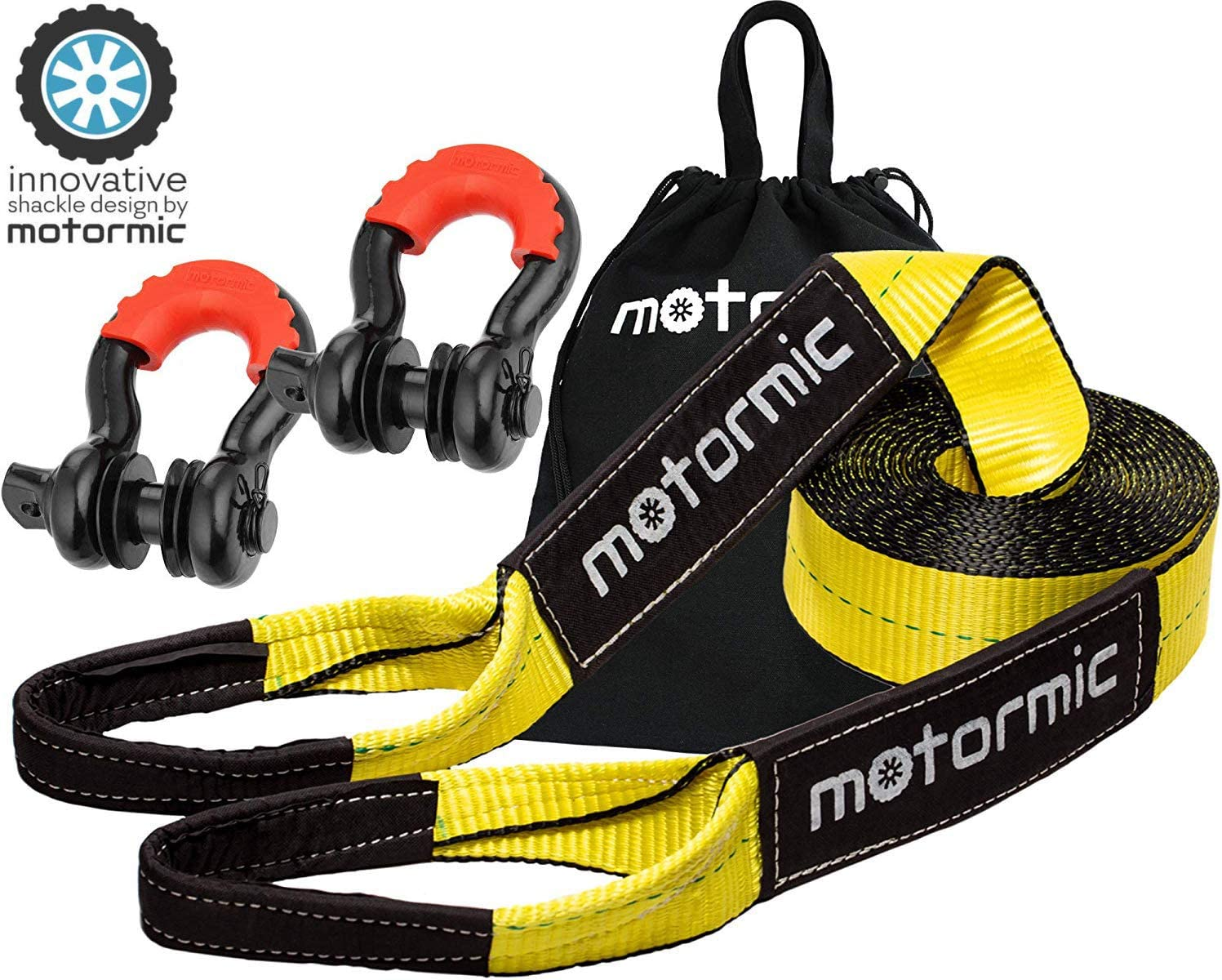 """motormic Tow Strap Recovery Kit - 3"""" x 30ft (30,000 lbs.) Rope + 3/4"""" D Ring Shackles (2pcs.) + Storage Bag - Heavy Duty Straps for Winch - Truck, Car, ATV, Off Road Vehicle Towing"""