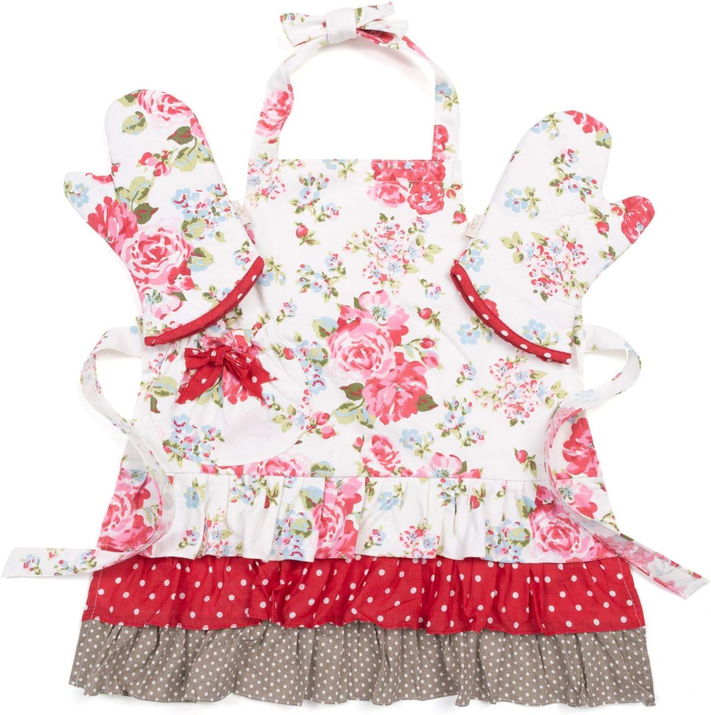 NEOVIVA Kids Apron and Child Oven Mitts Set for Pretend Kitchen, Floral Toddler Kitchen Linen Set for Girls, Floral Lollipop Red