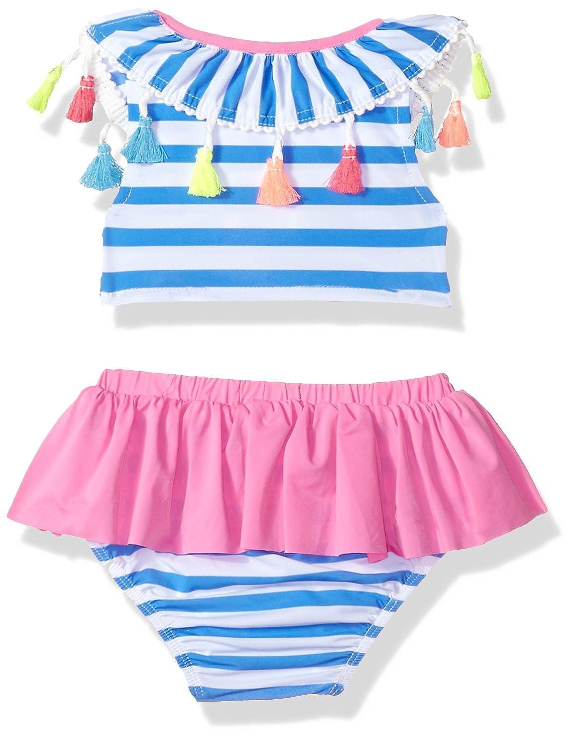 49919131b5 Amazon.com  Mud Pie Girls Tassel Stripe Two Piece Swimsuit  Clothing