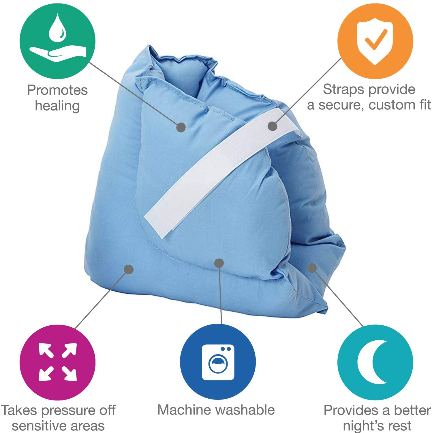 DMI Heel Cushion Protector Pillow to Relieve Pressure from Sores and Ulcers, Adjustable in Size, Blue: Health & Personal Care