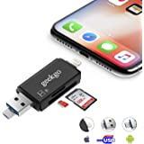 geekgo SD Card Reader,USB Memory Card Reader Adapter Viewer for iPhone iPad Android Mac - Supports Lightning Micro USB OTG 3 in 1 (Black)