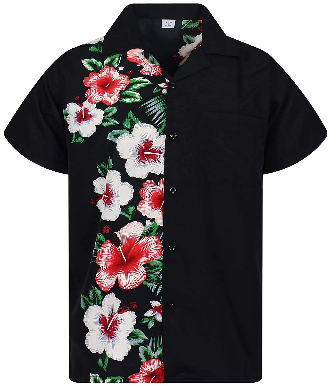 2804bce0d V.H.O Funky Hawaiian Shirt Men Short-Sleeve Front-Pocket Wedding Chic  Multiple Colors
